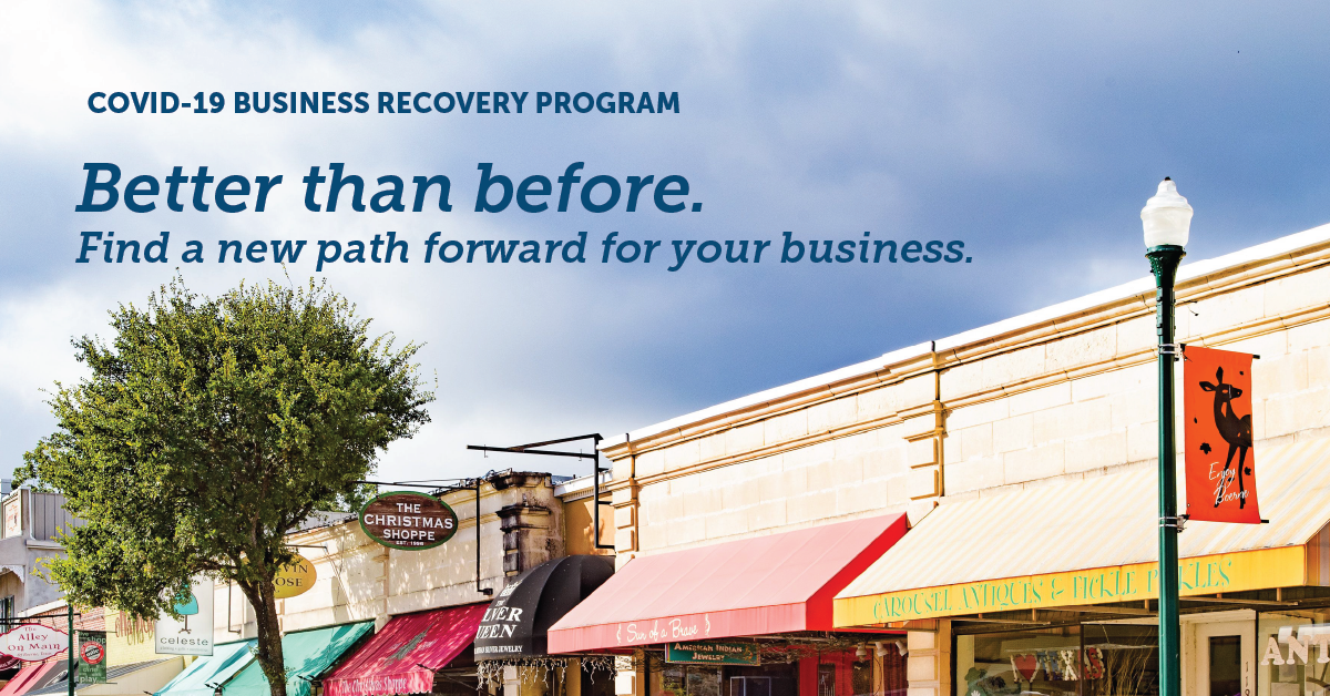 "A picture of business storefronts with text reading, ""Better than before. Find a new path forward for your business"""
